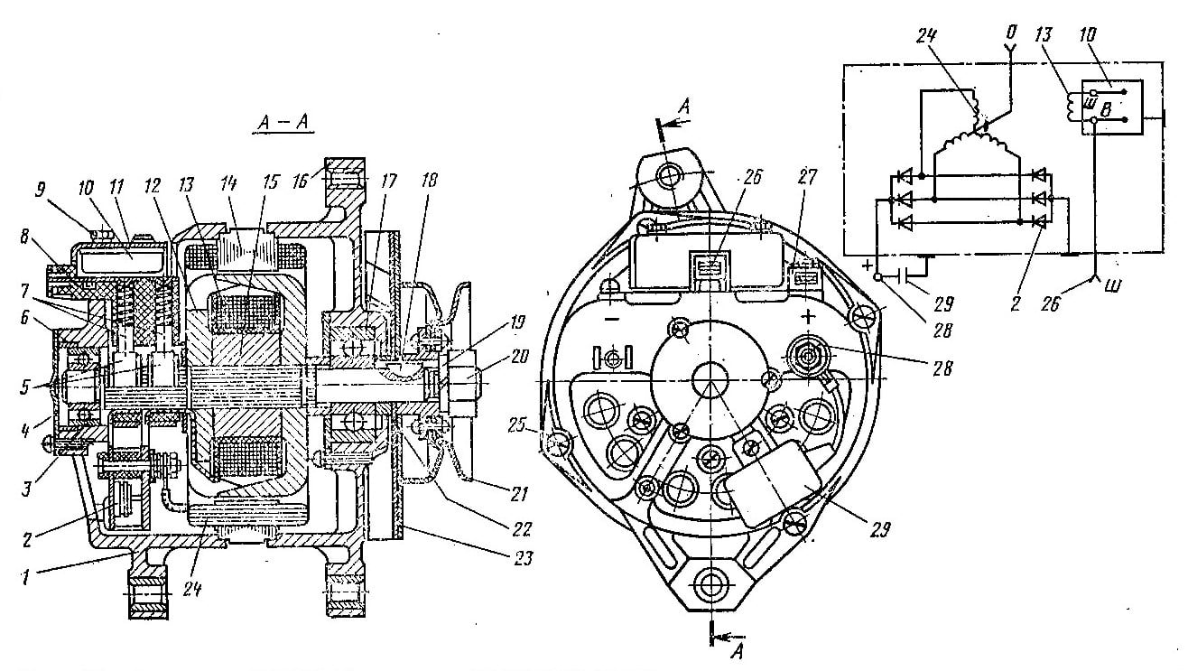 Схема генератора высоковольтных импульсов.  Концы обмотки возбуждения.