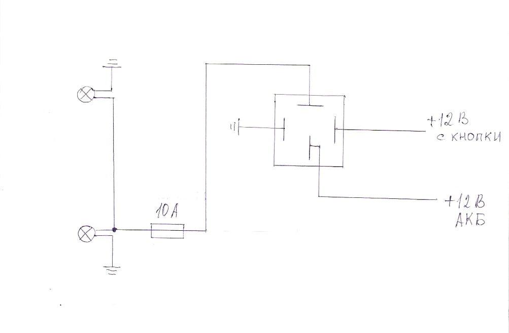 Электрическая схема противотуманных фар ваз 21104.