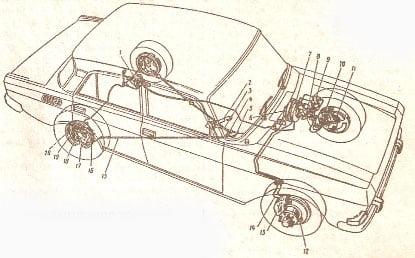 схема тормозов москвич 2140.